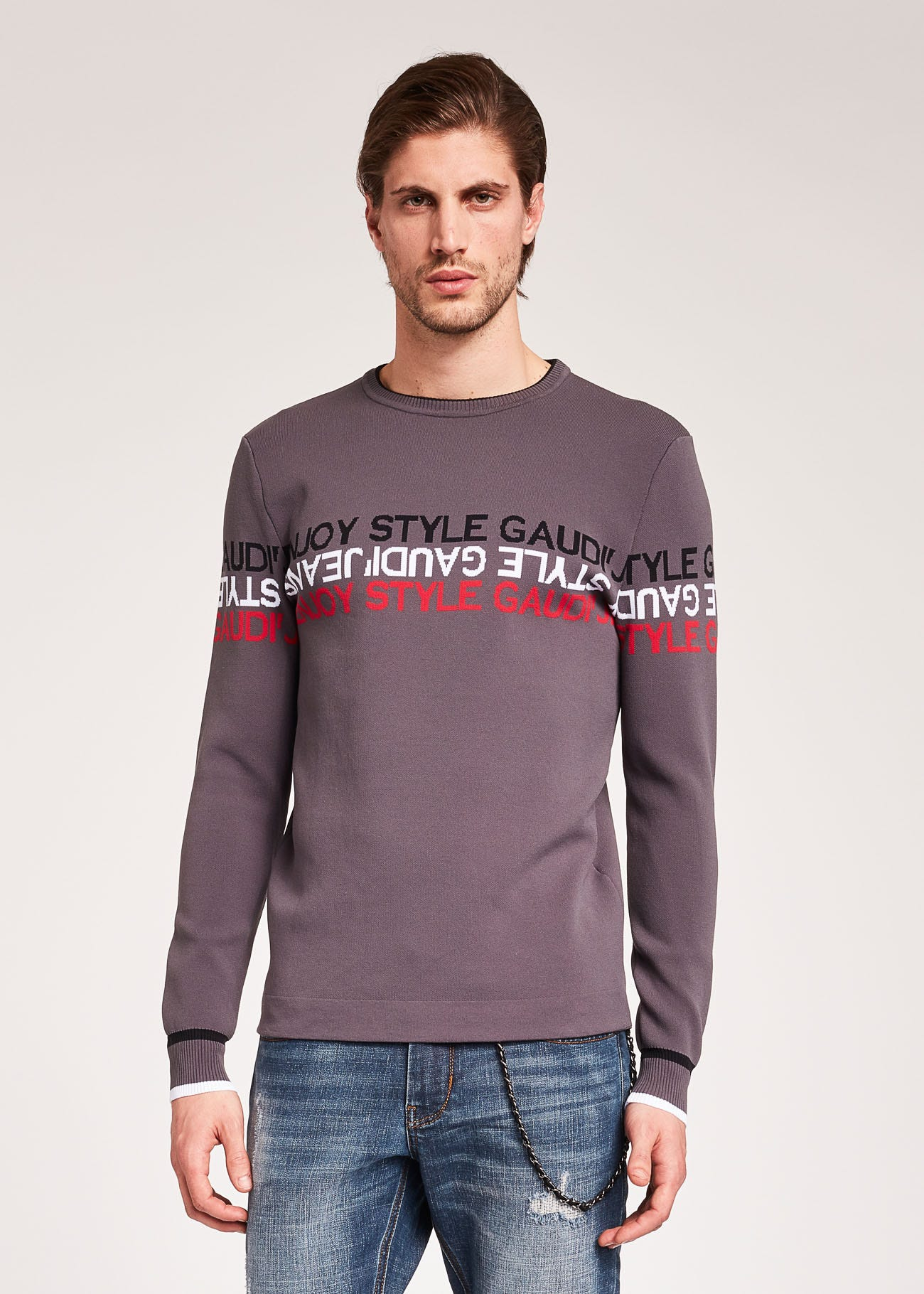 Slim-fit jumper with lettering