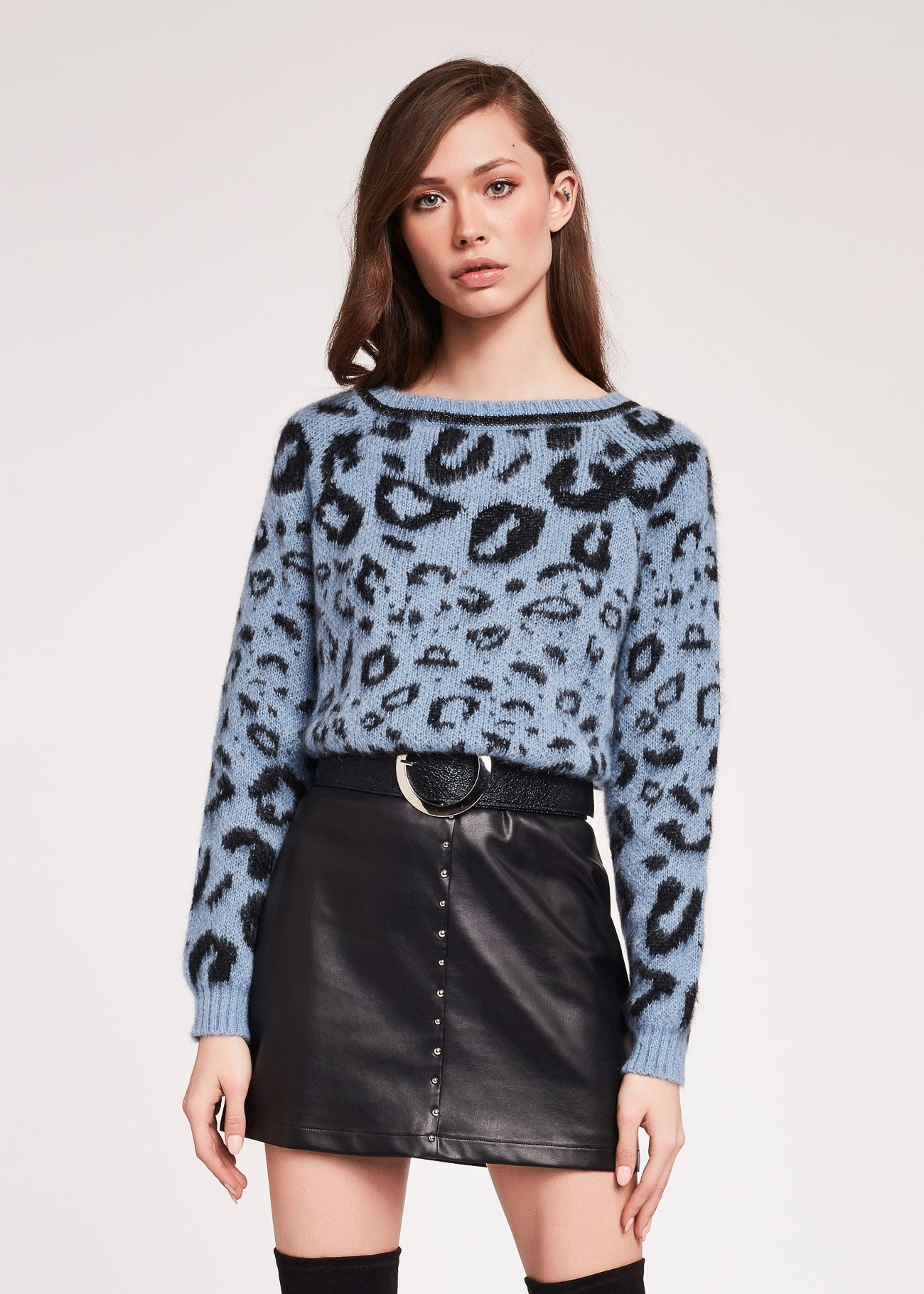 Animal print jacquard jumper