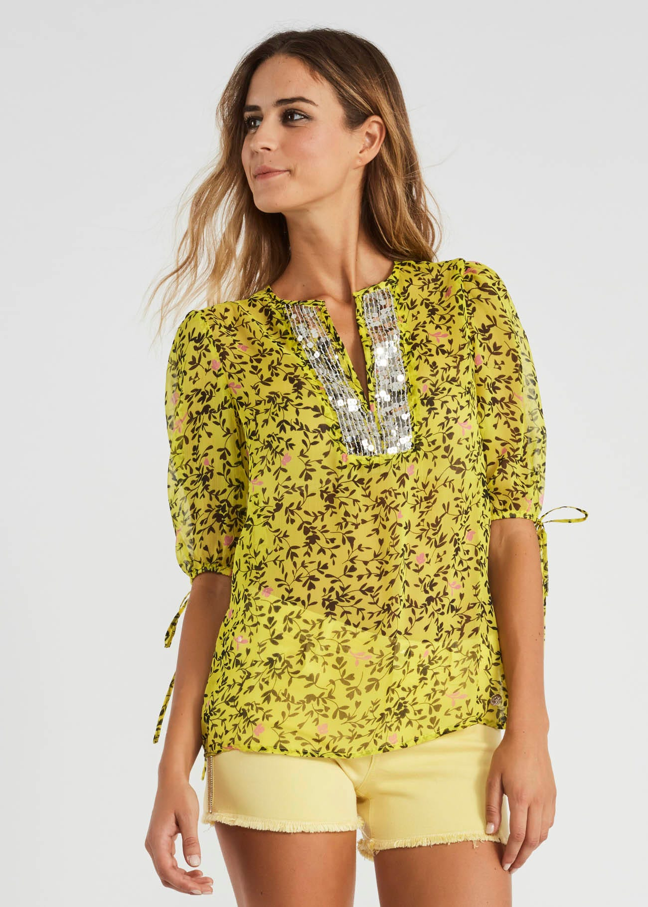 Embroidered drawstring blouse