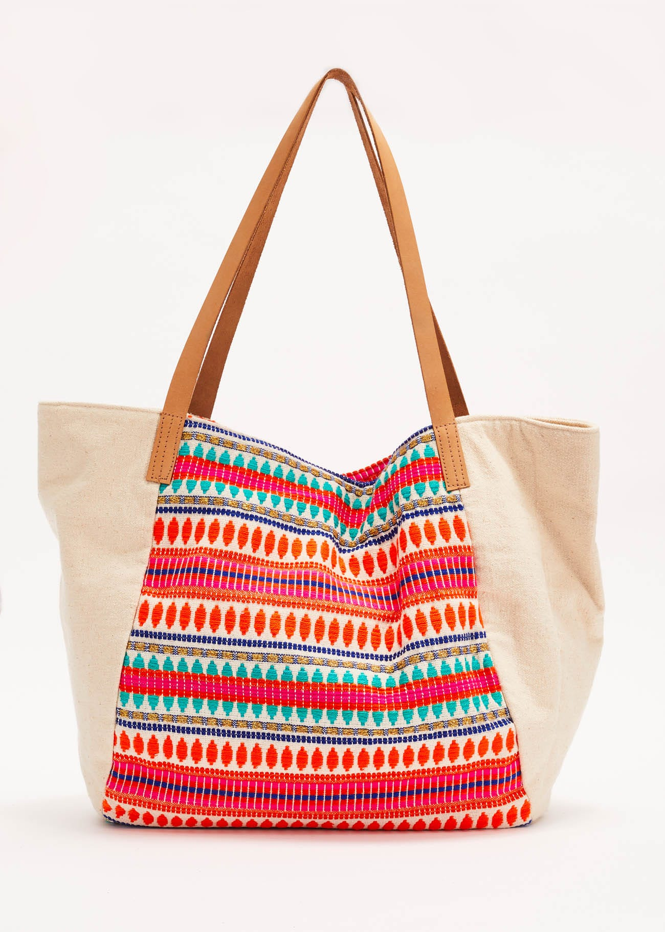 Embroidered cotton shopping bag