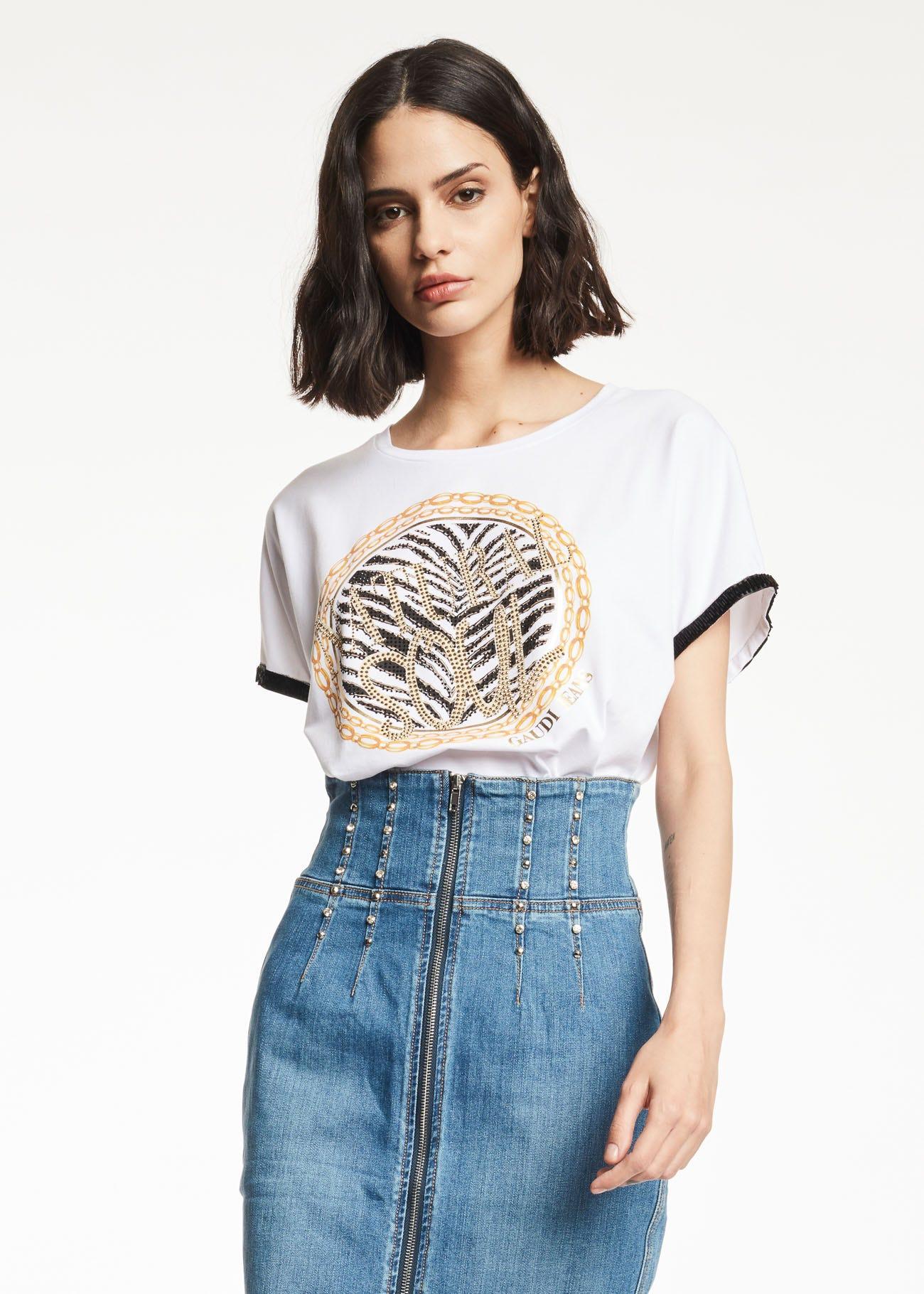 T-shirt con collo a giro